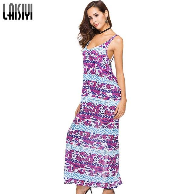 LAISIYI Summer Sundress Sleeveless Backless Beach Bohemian Dress Women  Print Casual Sexy Long Dresses Split ASDR20636 2e684b25be4f