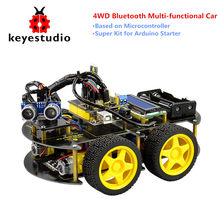 Keyestudio 4WD Bluetooth Multi-functional DIY Smart Car For Arduino Robot Education Programming Creative Gift For Kids Children(China)