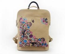 Ретро Холст Рюкзак Рюкзак Школа Книга Плеча Китайский Стиль Моды Цветок Мешок