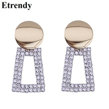 цены на Big Geometric Drop Dangle Earrings For Women Personality Rhinestone Square Statement Earrings Fashion Jewelry Party Bijoux  в интернет-магазинах