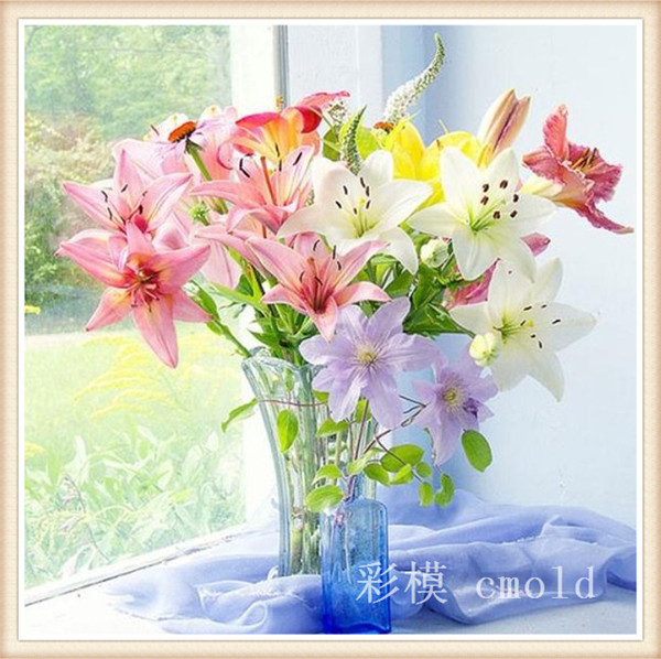 2015 продвижение картины современной смолаы цветочные горячая распродажа цветок счетный крест алмазов мозаика рукоделие живопись 2353r
