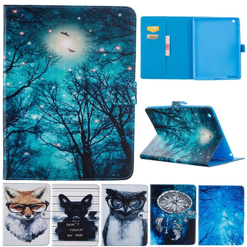 Fashion Cute Cartoon For Ipad 2 3 4 Animal Owl Dog Fox Wallet Card PU Leather Stand Case Cover For Ipad2 Ipad3 Ipad4 Fundas Capa for apple ipad mini 4 tablet case pu flip leather stand cartoon animal owl cat cover for ipad mini 4 fundas coque