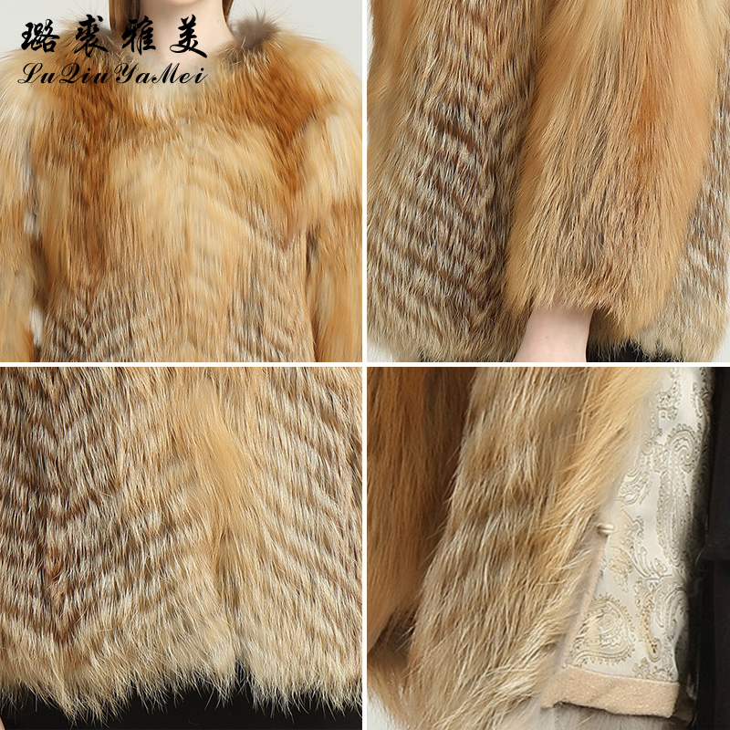 Red Fox Fur Coats Weibliche Naturfuchsfelljacken Short Style Can - Damenbekleidung - Foto 6