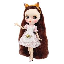 ICY DBS lalki Blyth 1/6 bjd biała skóra wspólne body rudo brązowy miękkie loki włosów nowy matowy twarz z brwi Lip połysk sd zabawki