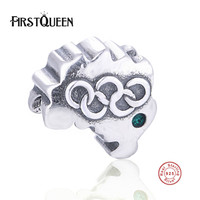 FirstQueen High Quality Brasill Olympic Charm Bead With Crystal Fit Original Bracelet Pendant Silver 925 DIY Jewelry Making