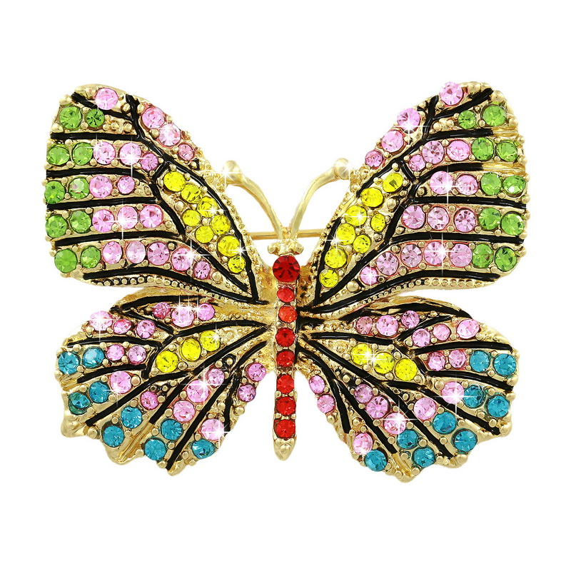 Beautiful Multi Color Crystal Rhinestones Pave Butterfly Pins and Brooches for Women in Assorted Colors