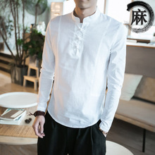 The Summer Wind, Linen Chinese Costume Chinese Mens Shirt Sleeved Cotton Shirt Vintage Clothes