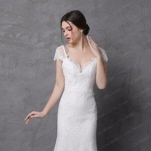 Image 3 - Sheath Lace Wedding Dress Real Photo Cap Sleeve Bow Tie V Back High Quality