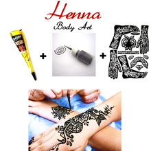 1 pcs Black Henna + Henna Applicator + Full Stencil, Sexy Mehndi Henna Body Art Set, Temporary Tatoo Wedding Adult Sex Products