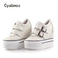 Cyabmoz/Женская обувь из натуральной кожи на высоком каблуке, обувь, увеличивающая рост, женские туфли лодочки, сникерсы, обувь для вечеринок,