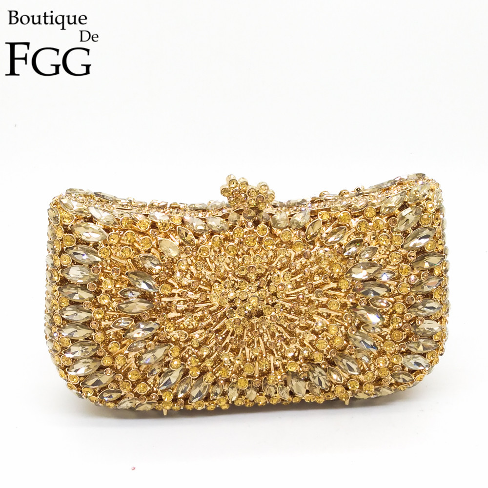Gift Box Packed Ladies Topaz Crystal Clutch Evening Bags Women Hollow Out Gold Glitter Metal Minaudiere Wedding Bridal Handbag