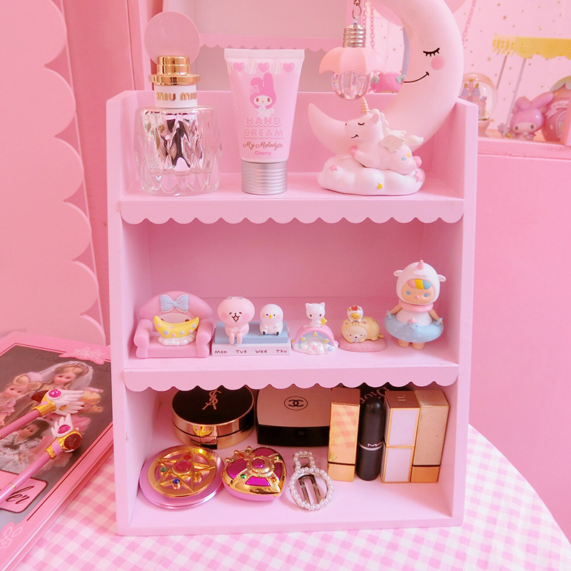 1pc New Pink Wooden 3 Floors Shelf Girls Cosmetic Display Doll House Accessories For Girls Gifts