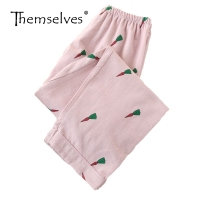 100% Cotton Pajama Pants Women Piyamas Trousers Print Cherry Pants Comfortable Pantalon Breathable Pyjama Sleep Bottoms