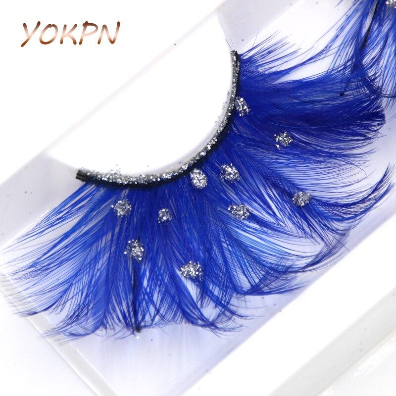 YOKPN Blue Feather False Eyelashes Silver Sequin Art Exaggerated False Eyelashes PHOTO Stage Makeup Feather False Eyelashes