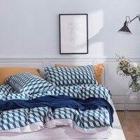 2019 Blue Green Plaids Scandinavian Bedding Set Duvet Cover 4pcs Twin Queen King Flat Sheet Wash Cotton Bedlinens Pillowcases