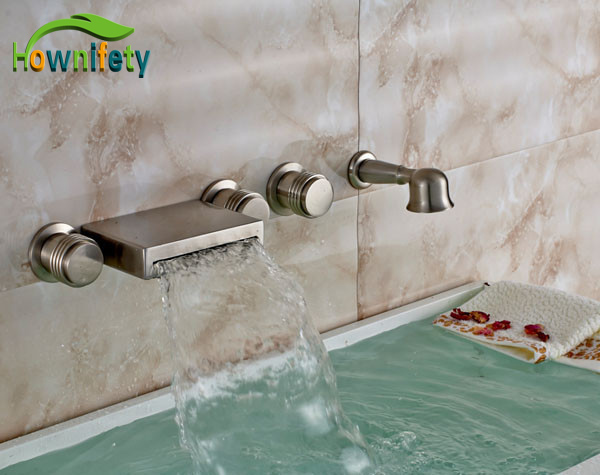 brushed nickel bathroom tub faucet waterfall three handles mixer tap with hand showerchina
