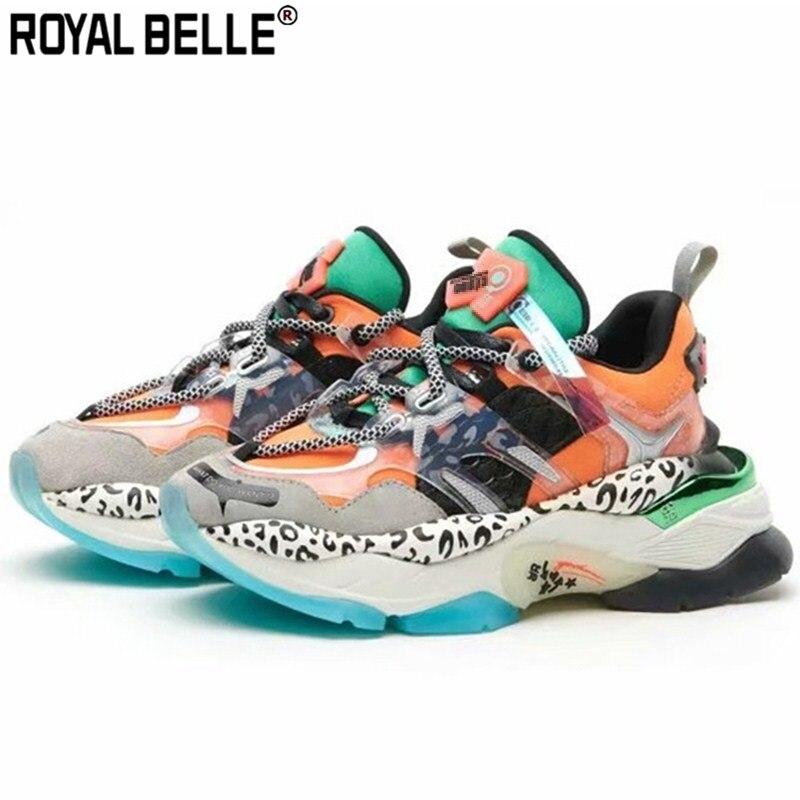 2019 Neuestes Design Royal Belle Frauen Plattform Leopard Leder Turnschuhe Patchwork Weibliche Laufschuhe Creepers Vulkanisierte Turnschuhe Casual Papa Schuhe Festsetzung Der Preise Nach ProduktqualitäT