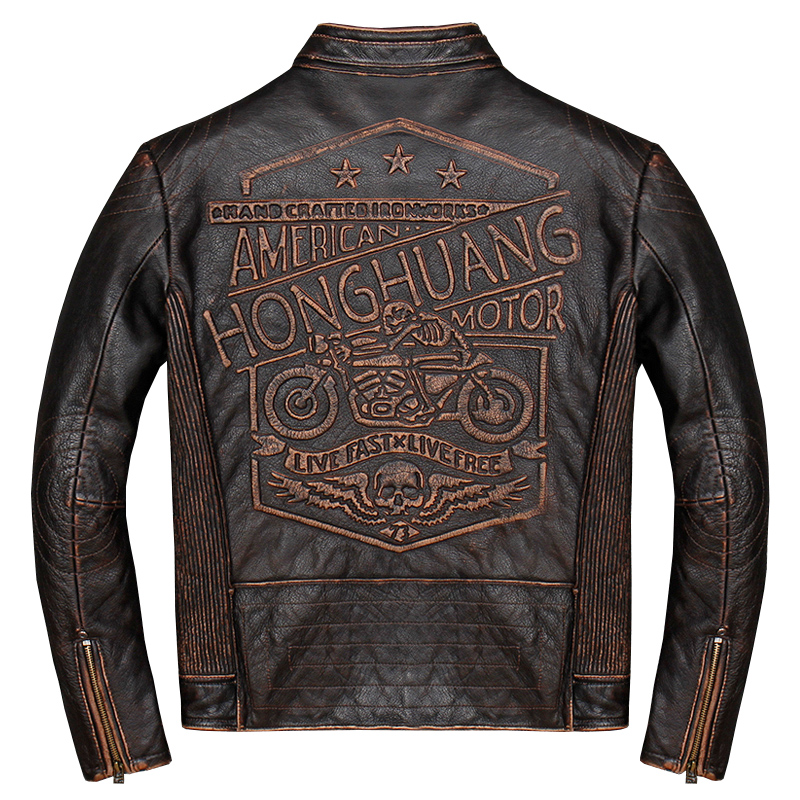 Vintage Genuine Leather Jacket Men Real 100% Real Cow Motorcycle Biker Pilot Baseball Casual Male Winter Warm Brown Leather Jack