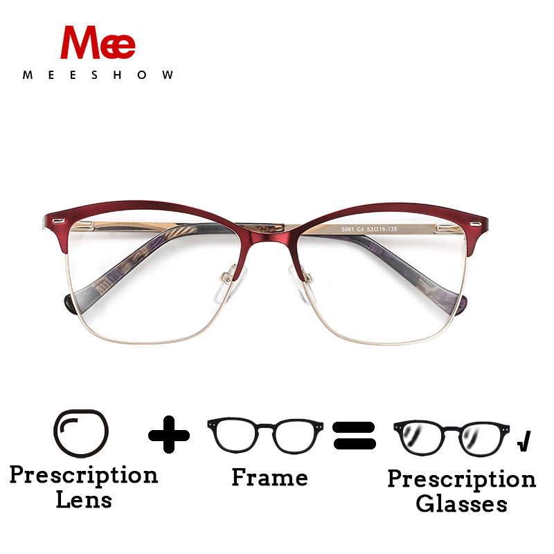 MEESHOW Glasses Men Lunettes Women Lens Optical-Frame Custom Elegant Stainless-Steel