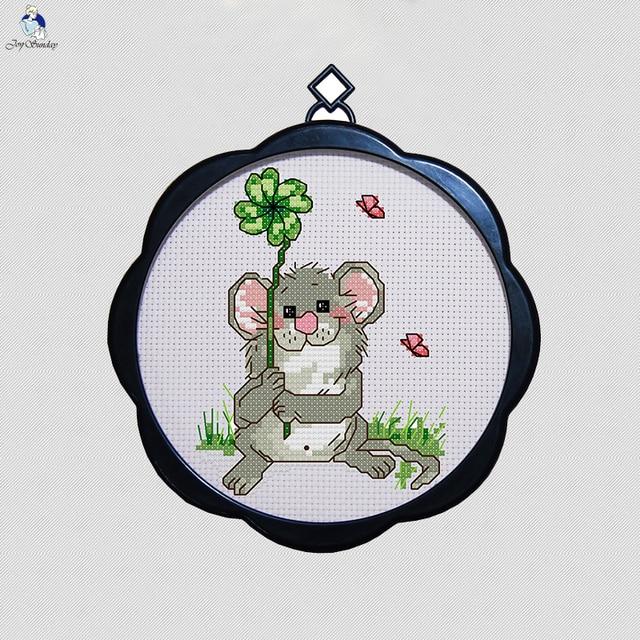 Little mouse cute cartoon Simple small photo frame cross stitch ...