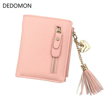 Small Tassel Women Wallet 2018 Luxury Brand Short Design Leather Double Zip Two Fold Female Purse with Heart Chain Card Holder