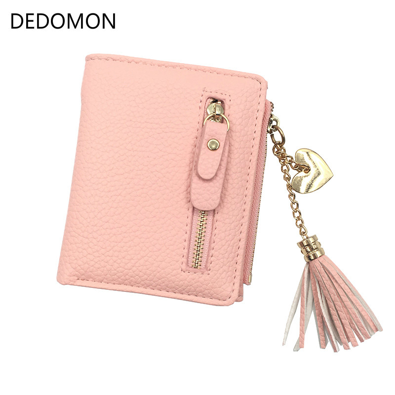 Small Tassel Women Wallet 2018 Luxury Brand Short Design Leather Double Zip Two Fold Female Purse with Heart Chain Card Holder concise women s satchel with double zip and pu leather design