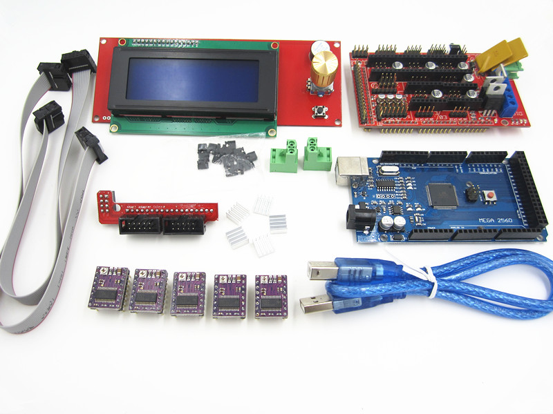 3D Printer kit 1pcs Mega 2560 R3 + 1pcs RAMPS 1.4 Controller+ 5pcs DRV8825 Stepper Motor Drive + 1pcs LCD 2004 controller