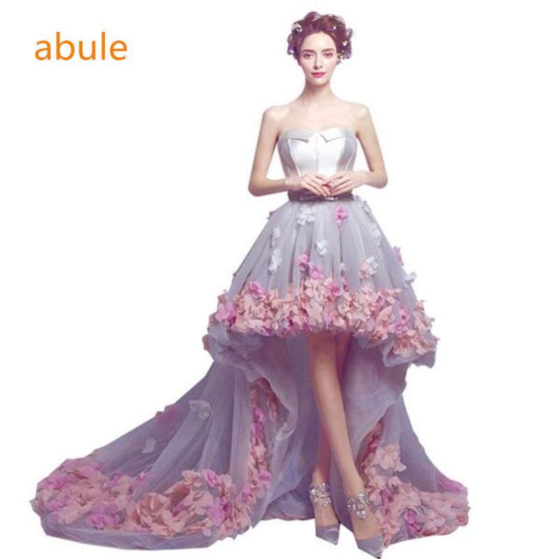 abule Before long and short evening dress pink flower princess trailing prom dress flower lace prom dress Vestido De Festa