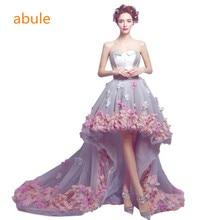 abule Before long and short evening dress pink flower princess trailing prom dress flower lace prom dress Vestido De Festa