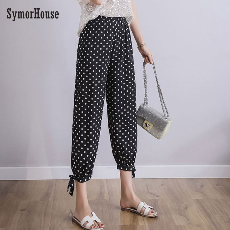 SymorHouse Plus Size Casual Women Trousers 2019 Summer Harem   Pants   Fashion Loose Dot Print Chiffon Autumn   pants     capris   6XL