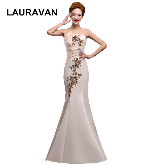 Elegant Vintage Strapless Long Prom Champagne Blue Satin Mermaid Dress Special Occasion Party Dresses For Women 2019 Gown