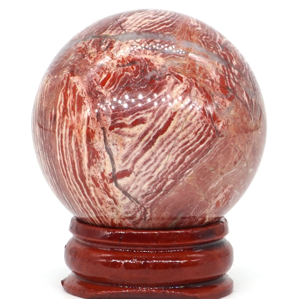 Natural Banded Jasper Ball Mineral Quartz Sphere Hand Massage Crystal Ball Healing Feng Shui Home Decor Accessory 40mm in Stones from Home Garden