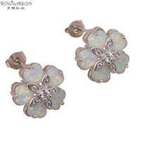 Floating Charms Flower Shape Five Pieces White Fire Opal Silver 925 Stud Earrings Australia Zirconia Fashion