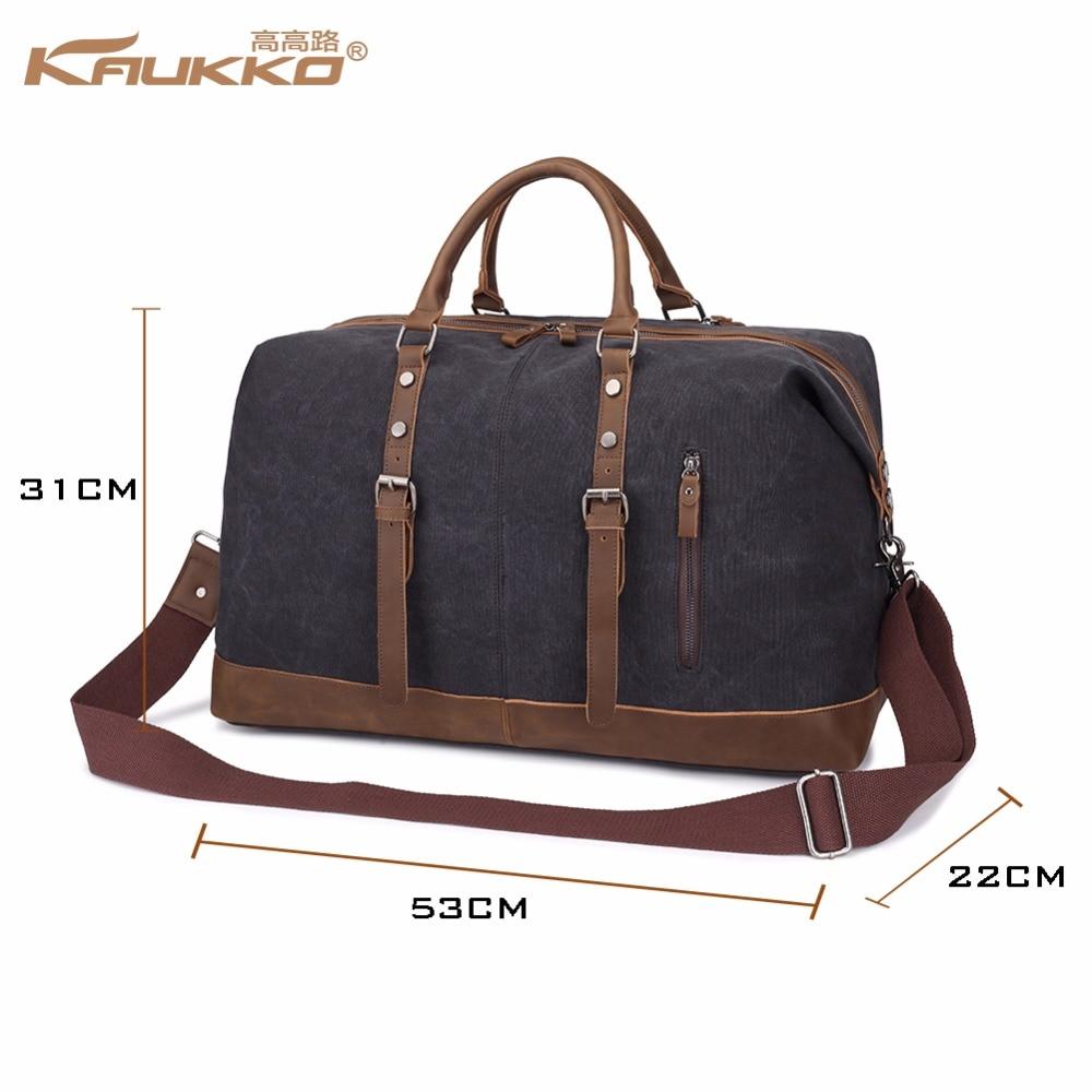 Original KAUKKO lærred læder mænd rejse tasker transportere tasker - Håndtasker - Foto 2