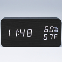 TXL Wooden LED Digital Alarm Clock Sound Control TEMP Humidity Travel Clock Electronic Desk Clock USB