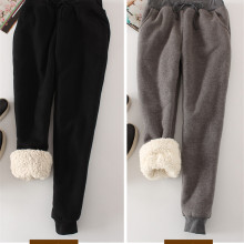 Женские зимние толстые кашемировые штаны из овчины, теплые женские повседневные штаны, свободные штаны от Harlan, длинные брюки, плюс размер Xl YP1254