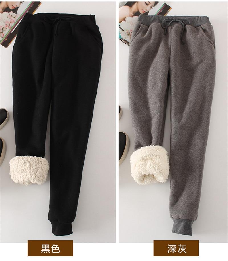Calça feminina inverno grosso pele de cordeiro calças de caxemira quente feminino casual calças soltas harlan calças compridas plus size xl yp1254