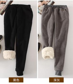 Women Pant Winter Thick Lambskin Cashmere Pants Warm Female Casual Pants Loose Harlan Pants Long Trousers Plus Size Xl  YP1254