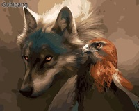 No Frame Wolf And Eagle Animals DIY Painting By Numbers Paint On Linens Acrylic Coloring Painitng