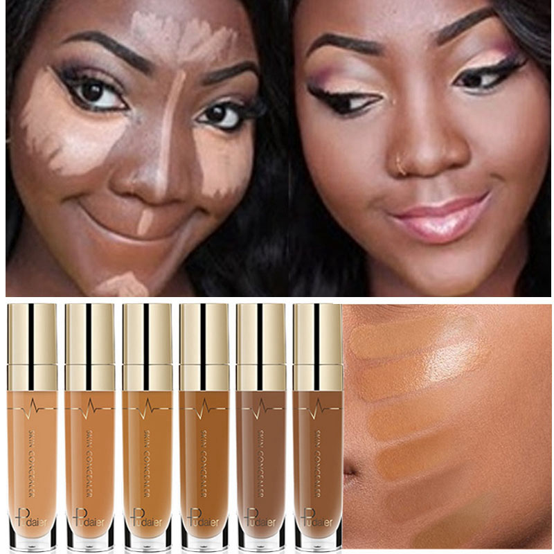 Face Contour Concealer Liquid Waterproof Full Coverage Foundation Corrector Palette Base Professional Makeup For Dark Skin image