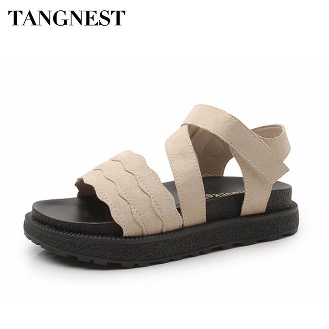 4cc6826fdbf2c4 Tangnest Classic Women Gladiators Summer British Style Women Sandals Kid  Suede Ankle Strap Platform Shoes Casual Flats XWZ4659