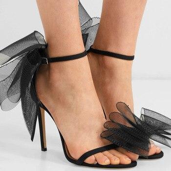 Summer Women Sandals PU Buckle Strap Thin Heels Butterfly-knot 11CM High Heels Pumps Lady Sandal woman Shoes цена 2017