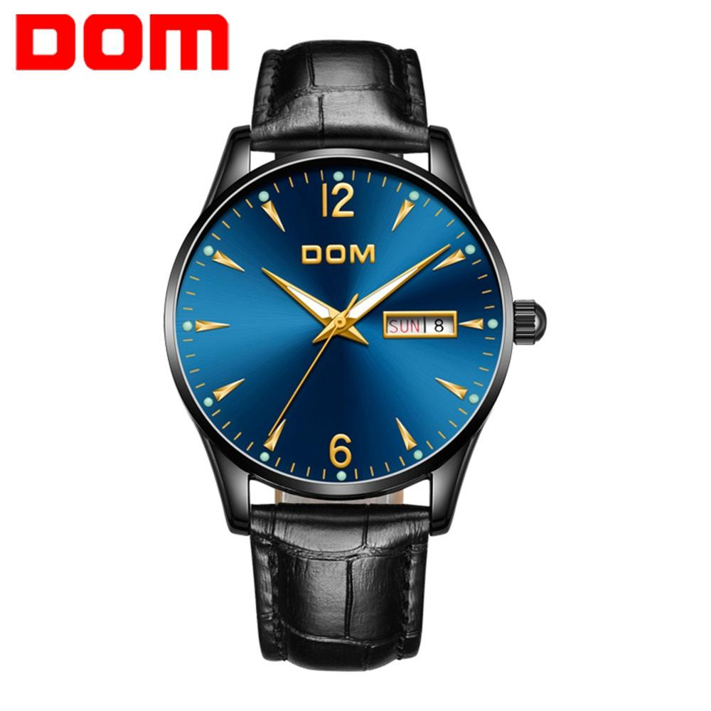 DOM Men's Watches Auto Date Luminous Hands Genuine Leather 30M Waterproof Clock Man Quartz Watches Men Fashion Watch M-11BL-2M89