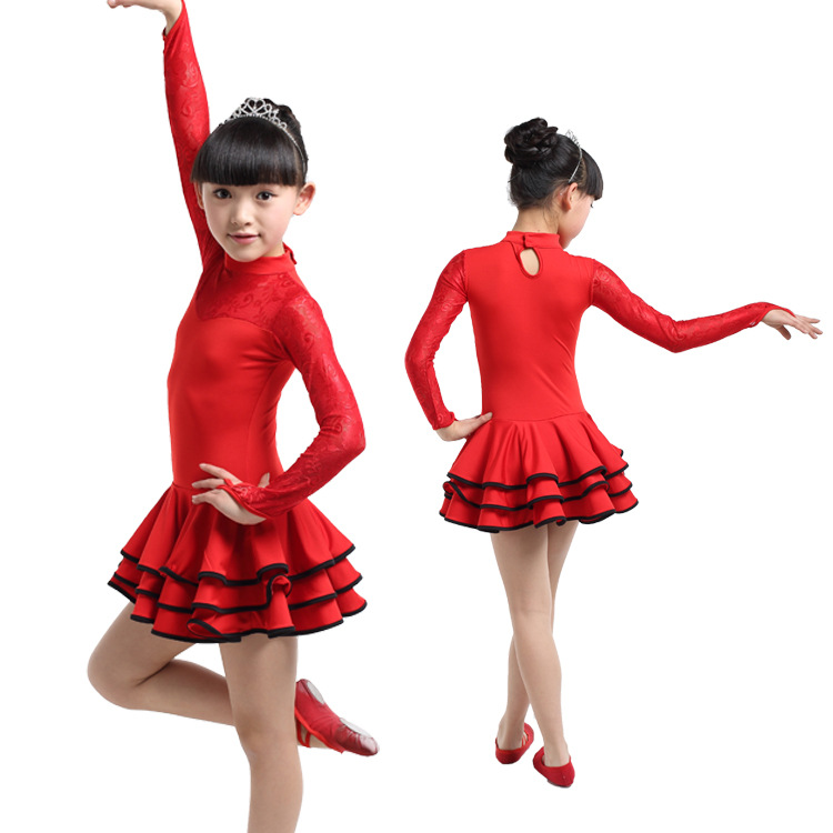 Lace Long Sleeves Latin Ballroom Dress Girls Costumes Dress Latina Salsa Dance Dress Disfraz Infantil Kids Black/Red Tango Dress
