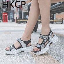 HKCP 2019 summer new sports sandals female Korean version Hook loop students beach shoes casual platform C402