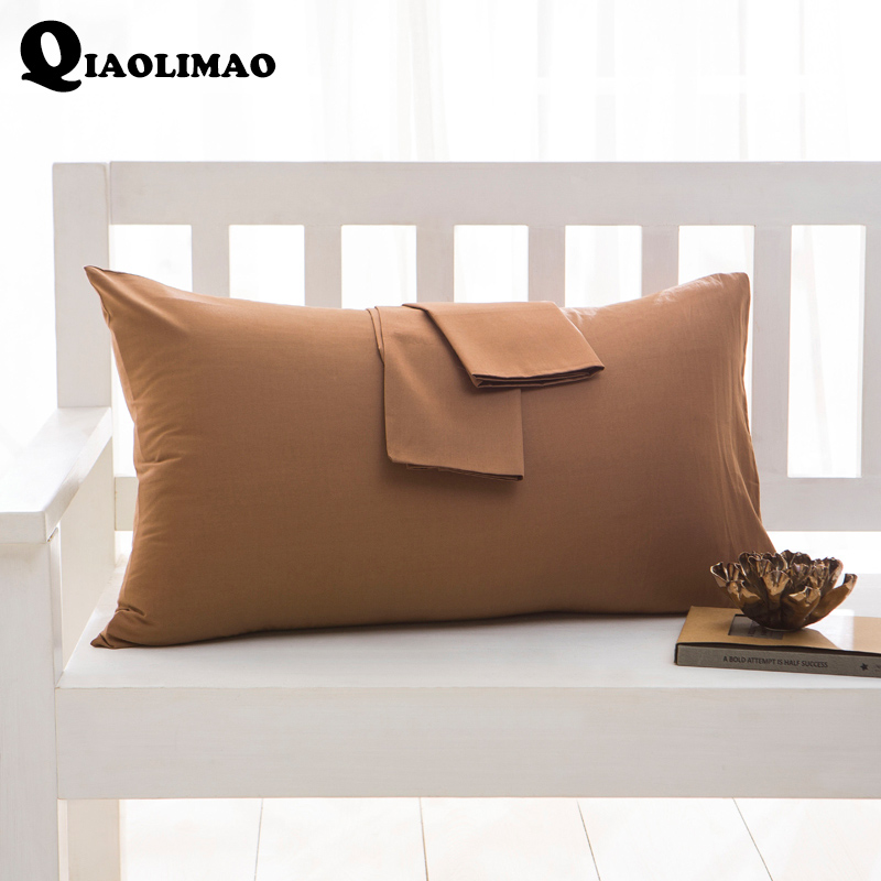 Simple 100% Coton Solide Couleur Taie d'oreiller 40*60 cm 50*75 cm 50*90 cm Rectangulaire taie d'oreiller de Couchage Lit Taie d'oreiller Livraison Gratuite