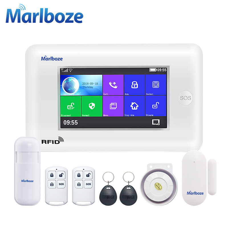 Marlboze беспроводной домашней безопасности Wi Fi GSM GPRS Сигнализация приложение дистанционное управление RFID карты руку с Цвет экран кнопка SOS