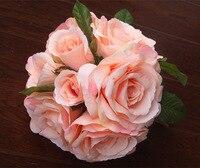 26 CM/Paquete de Seda Artificial Real Touch Rosas Ramo, Novia de La Boda Ramos de Mano Suministros, Mesa de Decoración del Hogar centros de mesa
