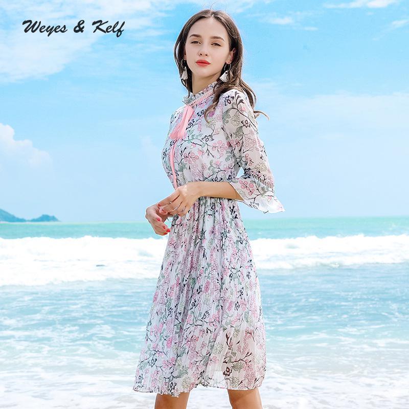 Chiffon Weyes Robe Stank Arco Flare Ladies Y Cuello Femme Con Las Gray Vestido De Otoño Vestidos Floral Impresión 2018 Plisado Kelf Mujeres Mujer rqgwrxRpX