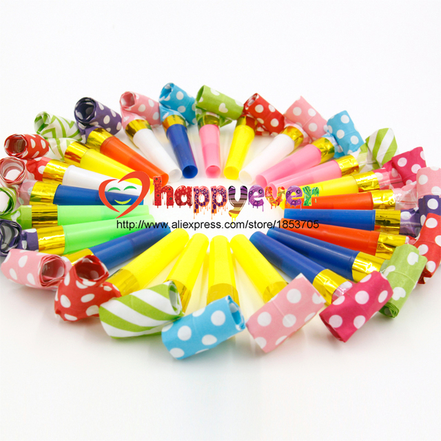 24PCS Small Multi Color Party Blowouts Whistles Kids Birthday Party Favors Decoration Supplies Noicemaker Goody Bags Pinata